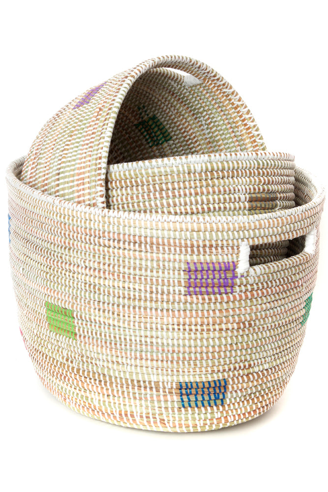 """Prismatic Pixels"" Nesting Baskets (Set of Three)"