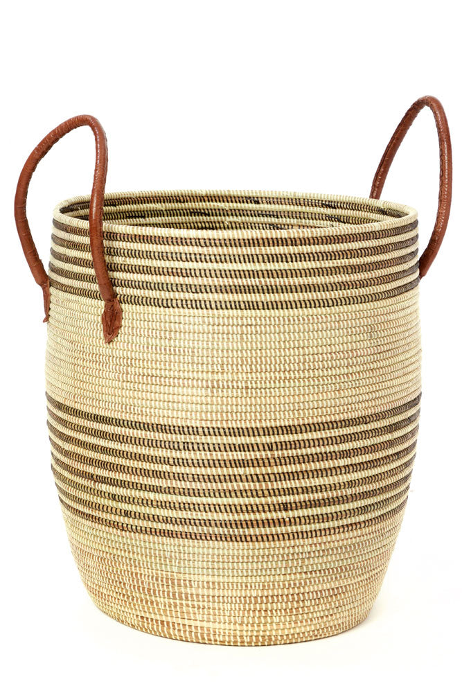 Striped Baskets with Leather Handles (Set of Three)