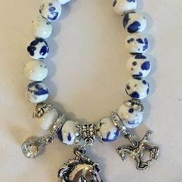 Bracelet - Blue and White Horse Bracelet