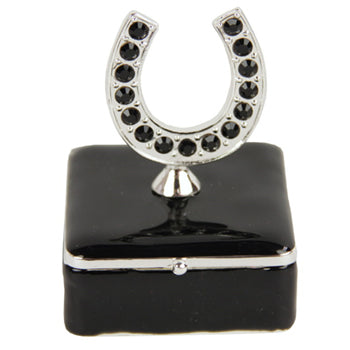 Black square trinket box with horseshoe