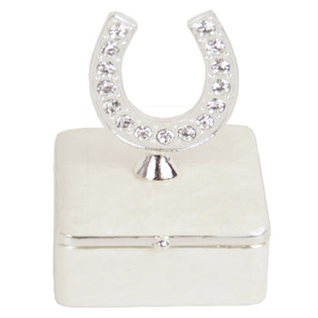 White square trinket box with horseshoe