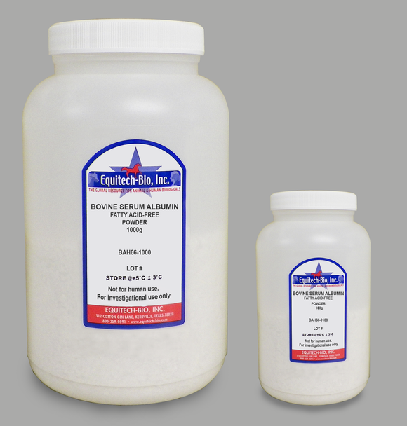 BAH66 -- Fatty Acid Free Heat Shock Bovine Serum Albumin Powder