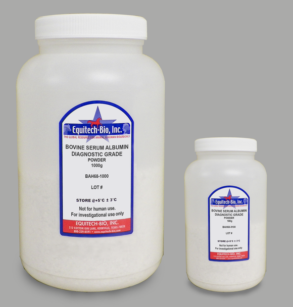 BAH68 -- Diagnostic Grade Heat Shock Bovine Serum Albumin Powder