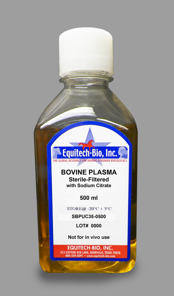 SBPUC35 -- Sterile Filtered Bovine Plasma with Sodium Citrate