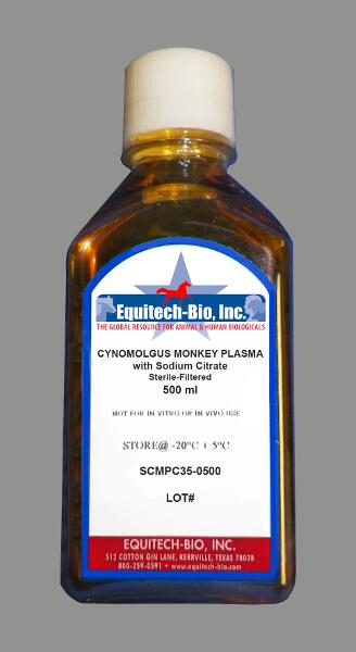 SCMPC35 -- Sterile Filtered Cynomolgus Monkey Plasma with Sodium Citrate