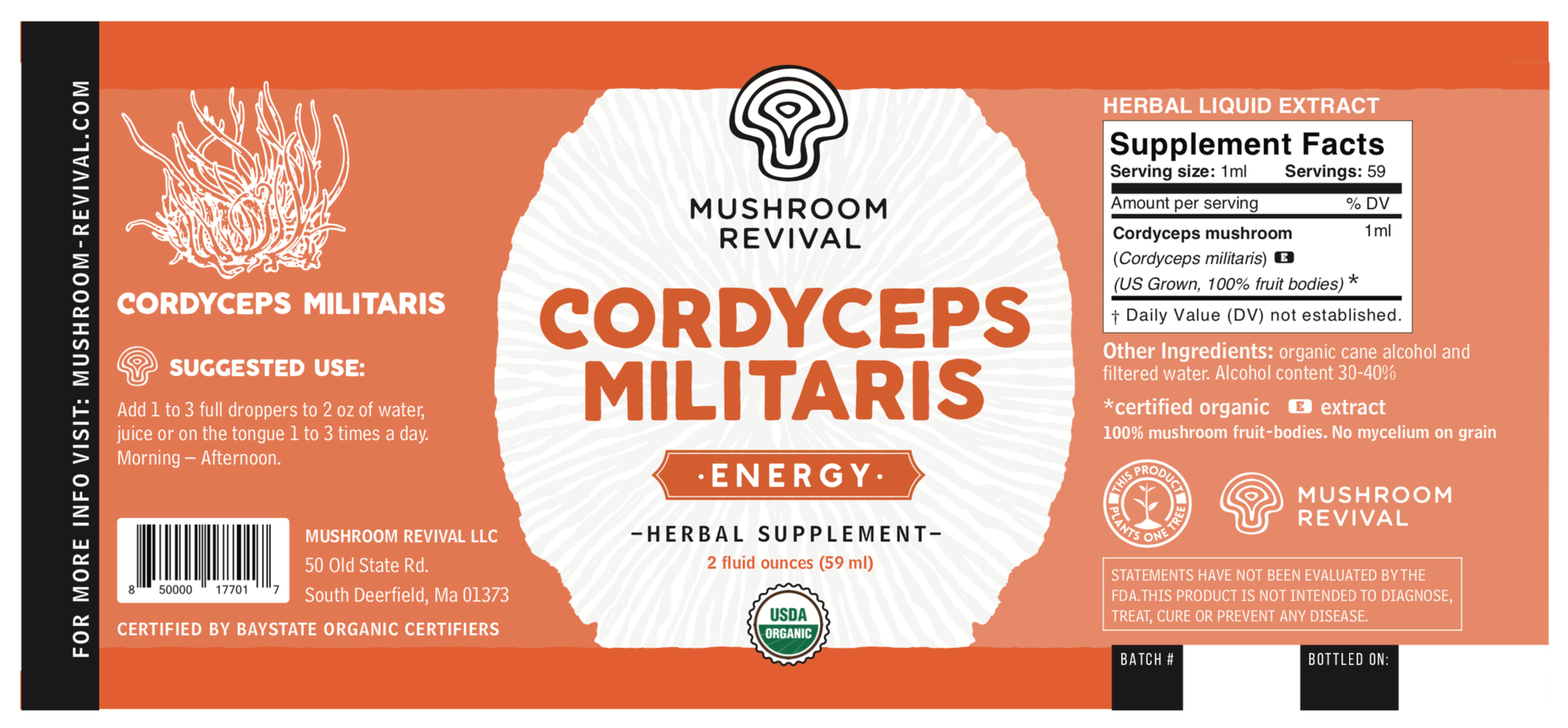 Organic Cordyceps Tincture for Energy & Stamina
