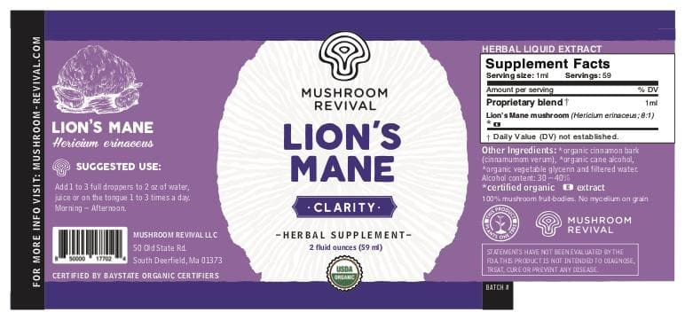 Organic Lion's Mane Tincture for Cognitive Function & Memory