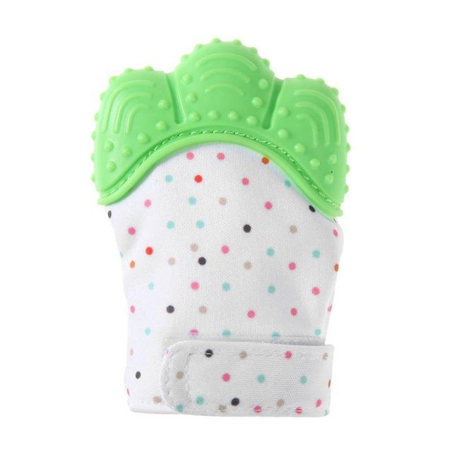 Green baby teething gloves