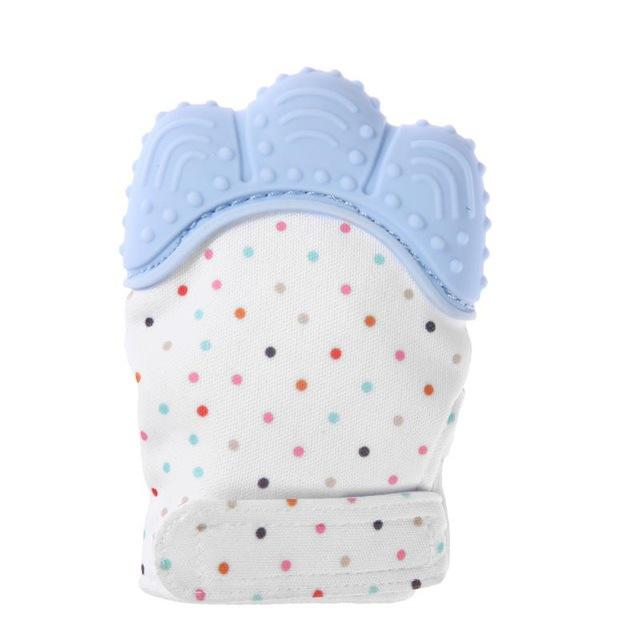 Blue baby teething gloves