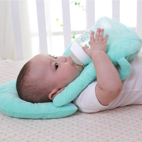 Teal self feeding pillow