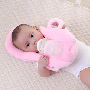 Pink self feeding baby pillow