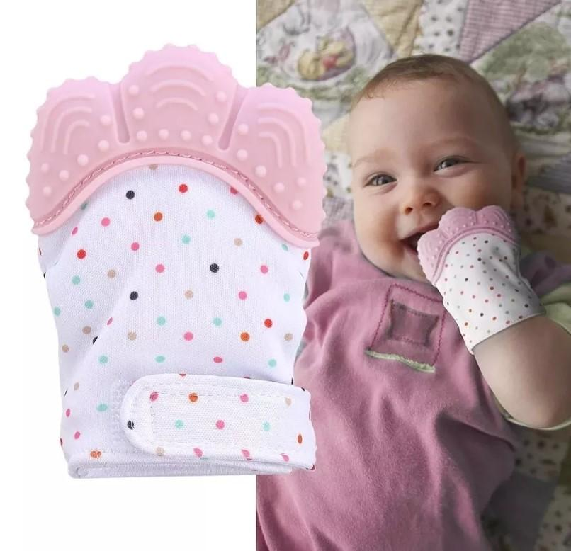 Pink soothing teething gloves