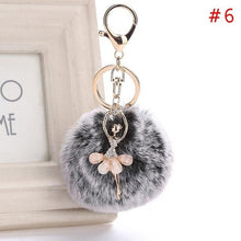 Load image into Gallery viewer, Ballerina Fluffy Pompom Keychain