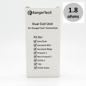 kangertech upgraded dual coils (1.8ohms) 5 pack