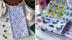 100% cotton eco-friendly tea towel with cheery, colorful watercolor flowers pattern