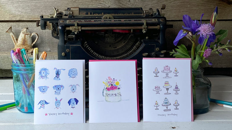 three blank-inside humorous birthday cards featuring chicken illustrations by Amy McCoy