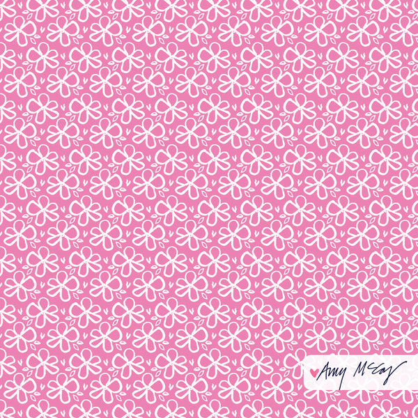 cheery floral pattern on pink by Amy McCoy
