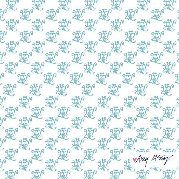 allover small floral repeat pattern hand painted by Amy McCoy