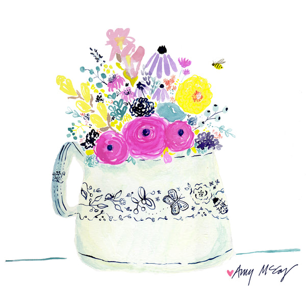 cheery flowers in white vase with indigo details hand painted by Amy McCoy