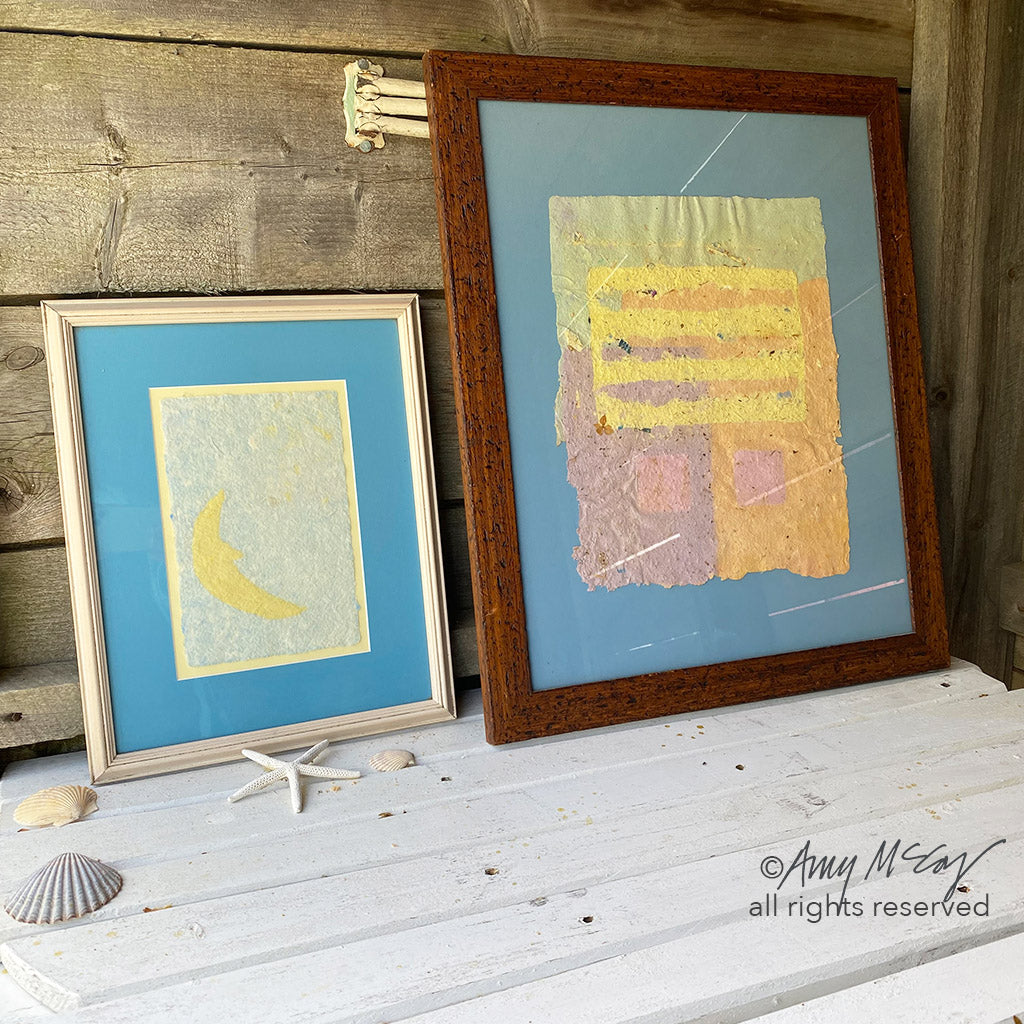handmade paper crescent moon and abstract piece with squares and lines by Amy McCoy