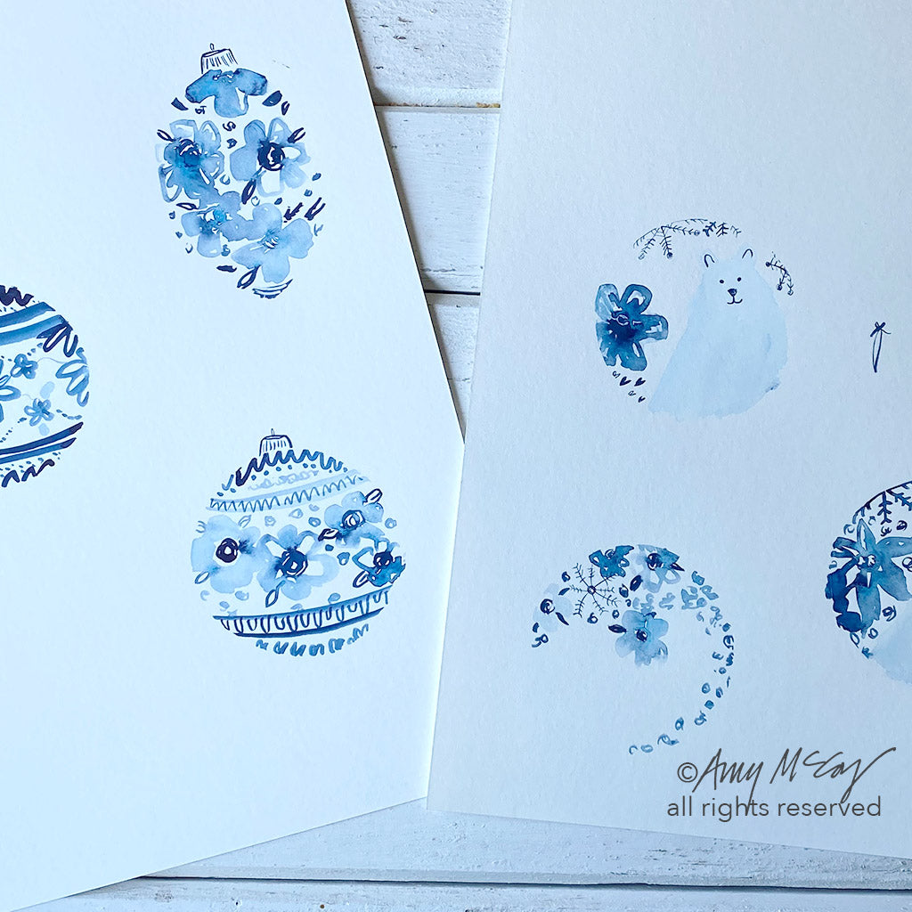 ornament paintings in indigo by Amy McCoy
