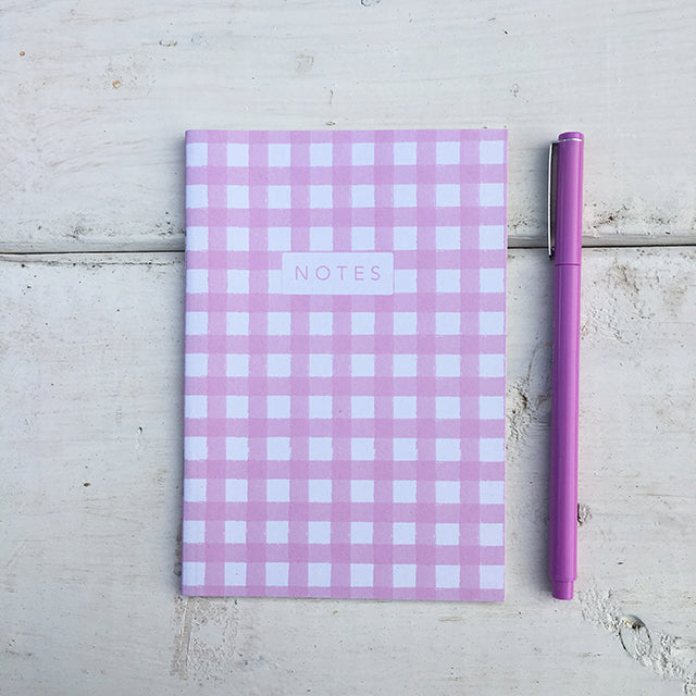 Pink Gingham A6 Notebook