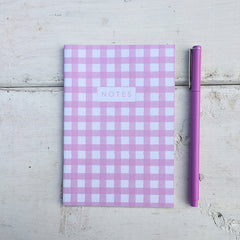 Pink Gingham A6 Notebook - tiny farmhouse by Amy McCoy