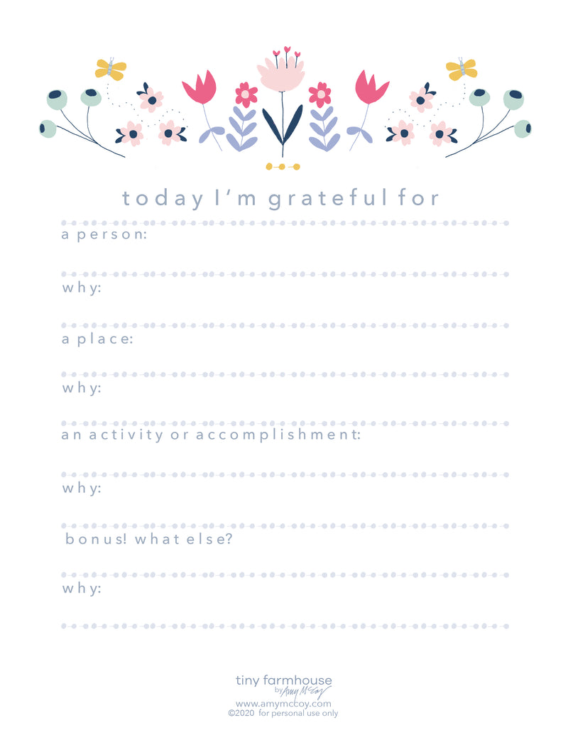 a free downloadable gratitude journal sheet with folk art flowers at the top, and prompts for people and things you're grateful for