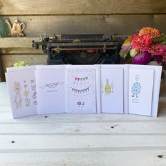 set of 5 blank-inside notecards featuring cute illustrations by Amy McCoy