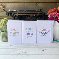 set of 3 blank-inside encouragement cards with lettering and illustrations by Amy McCoy