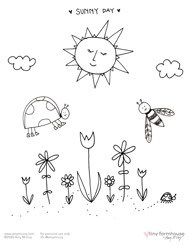 Valentine's Day free coloring sheets - tiny farmhouse by Amy McCoy