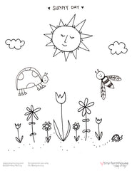 Sunny Day free coloring sheet - tiny farmhouse by Amy McCoy