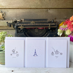 set of 3 blank-inside thank you cards with illustrations by Amy McCoy
