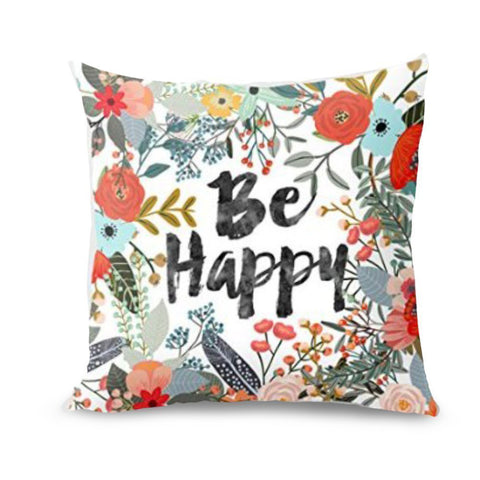 Be Happy Pillow Cover