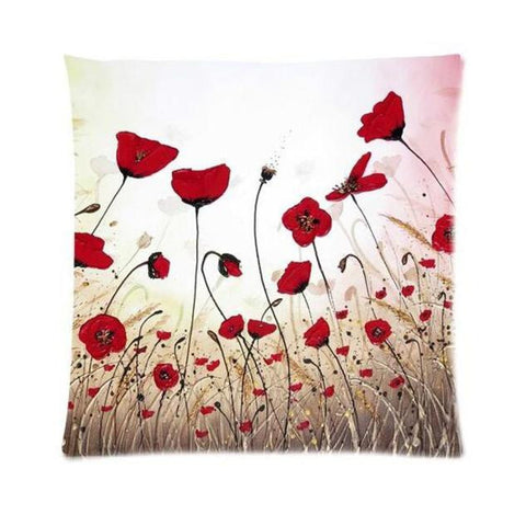 Poppy Flowers Pillow Case