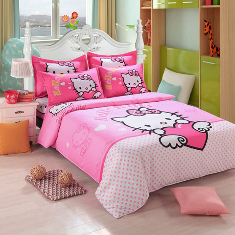 Hello Kitty Bedding Set Children Cotton Bed Sheets Hello Kitty Duvet Cover Bed Sheet Pillowcase Twin Full Queen Free