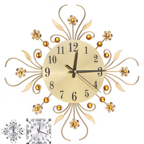 Metal Diamonds Flower Wall Clock