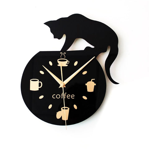 Cute Climbing Cat Wall Clock