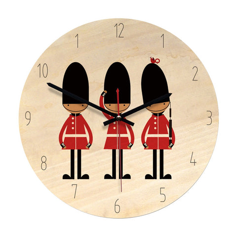 Nordic Cartoon Wooden Wall Clock