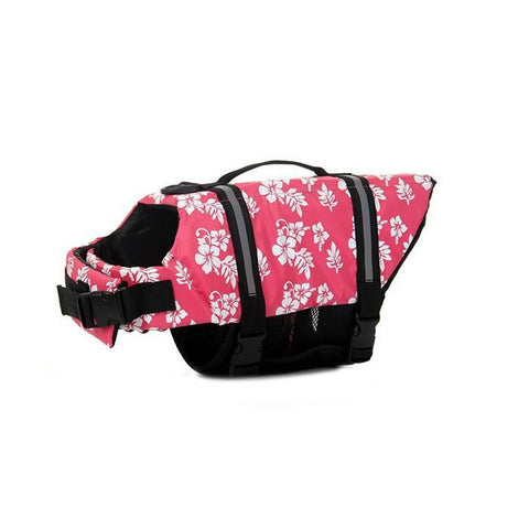Flower Printed Pet Life Jacket Safety Swimming Suit