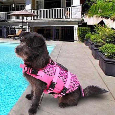 pink mermaid dog life jacket