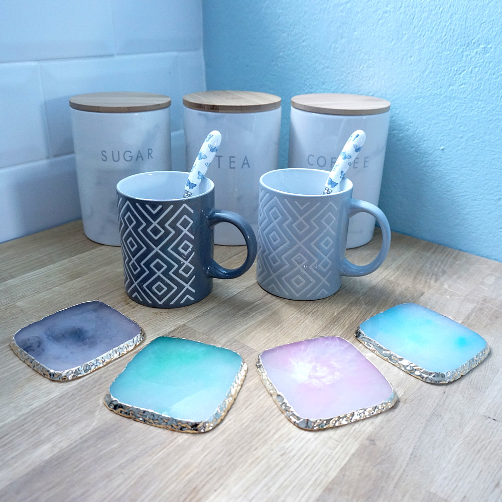 Clouded Gold Square Coasters