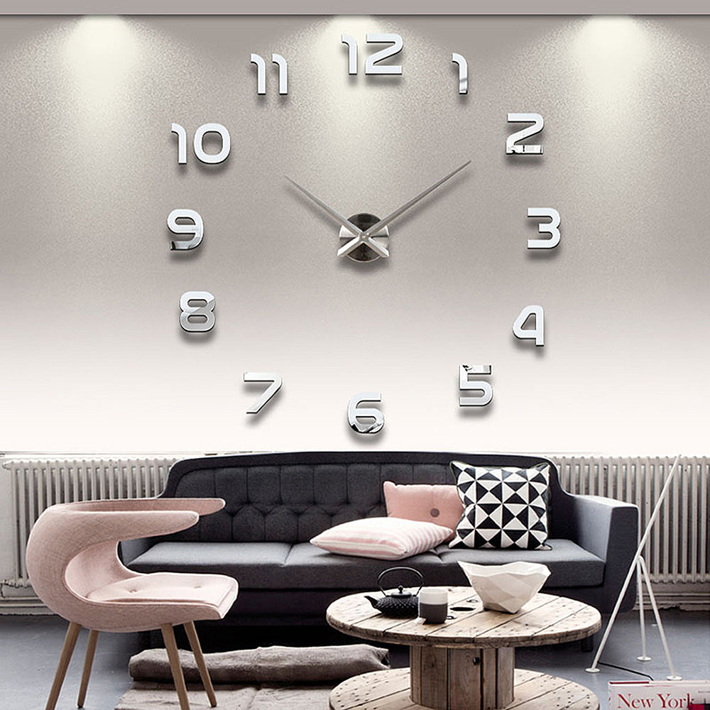 Oversized 3D Wall Clock - Silver