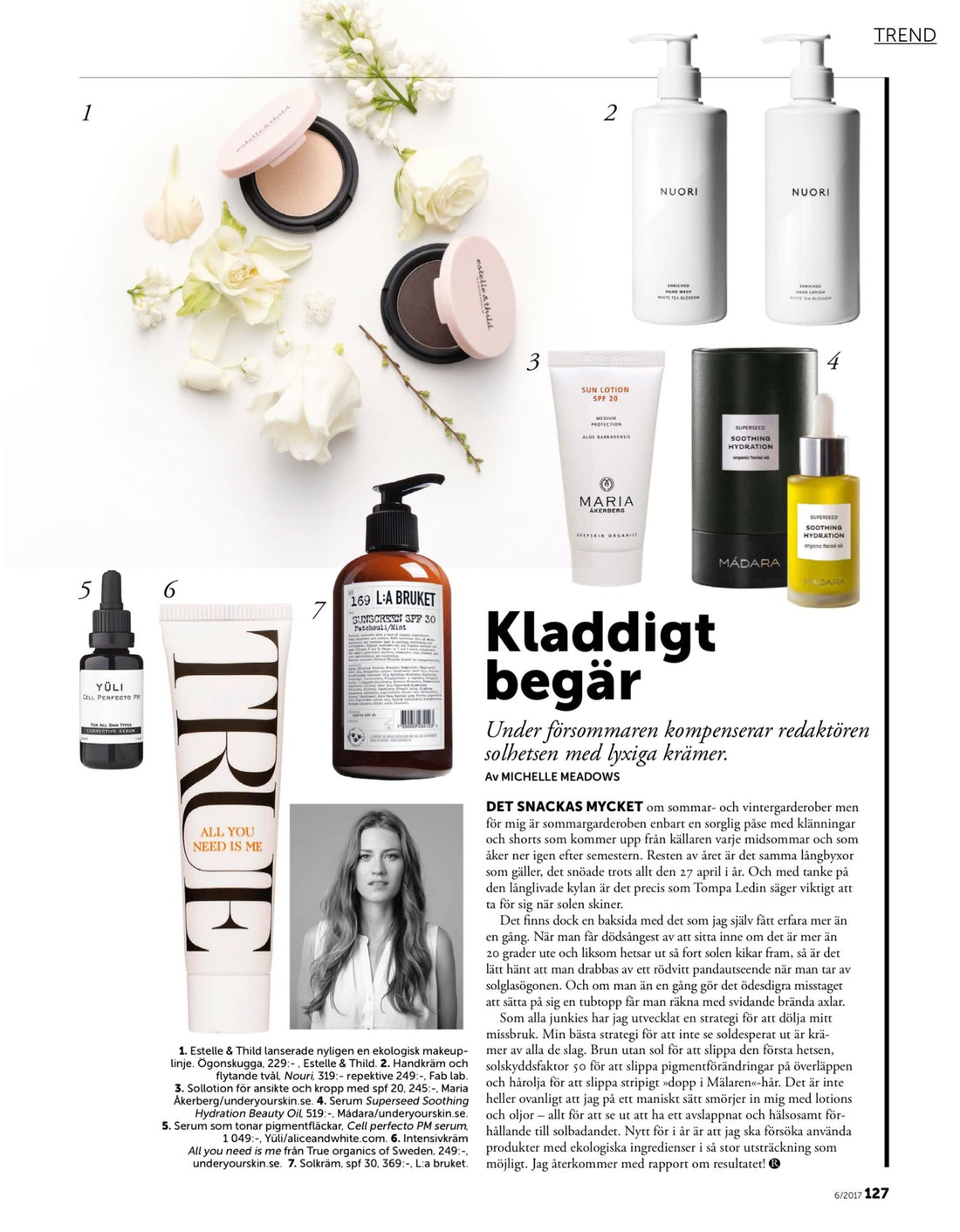Organic Skincare in Recidence Magazine