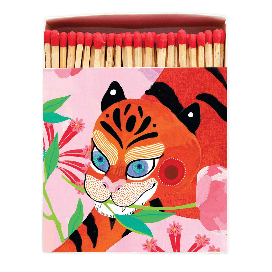 Luxury Matchboxes Square - Tiger with peony - The Archivist Gallery