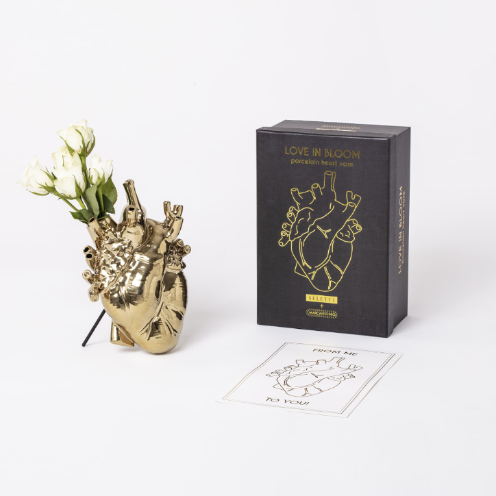 Love in Bloom Heart Vase - Gold - Seletti | FABLAB AB