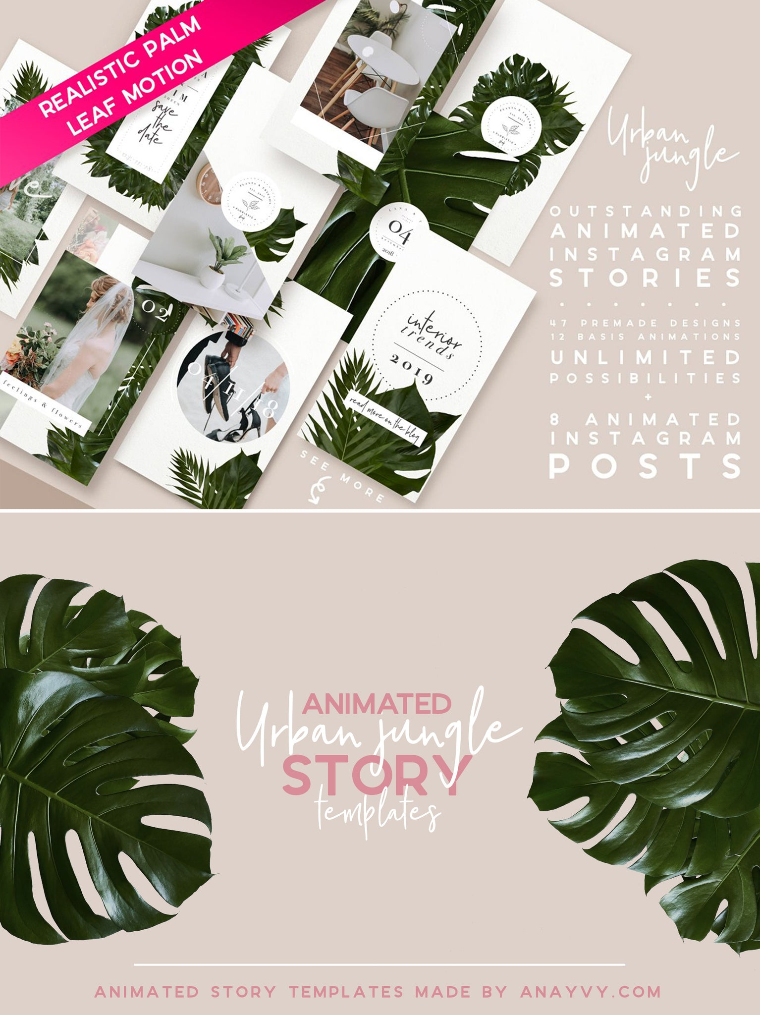 Animated Instagram Templates | Urban Jungle - ANA & YVY