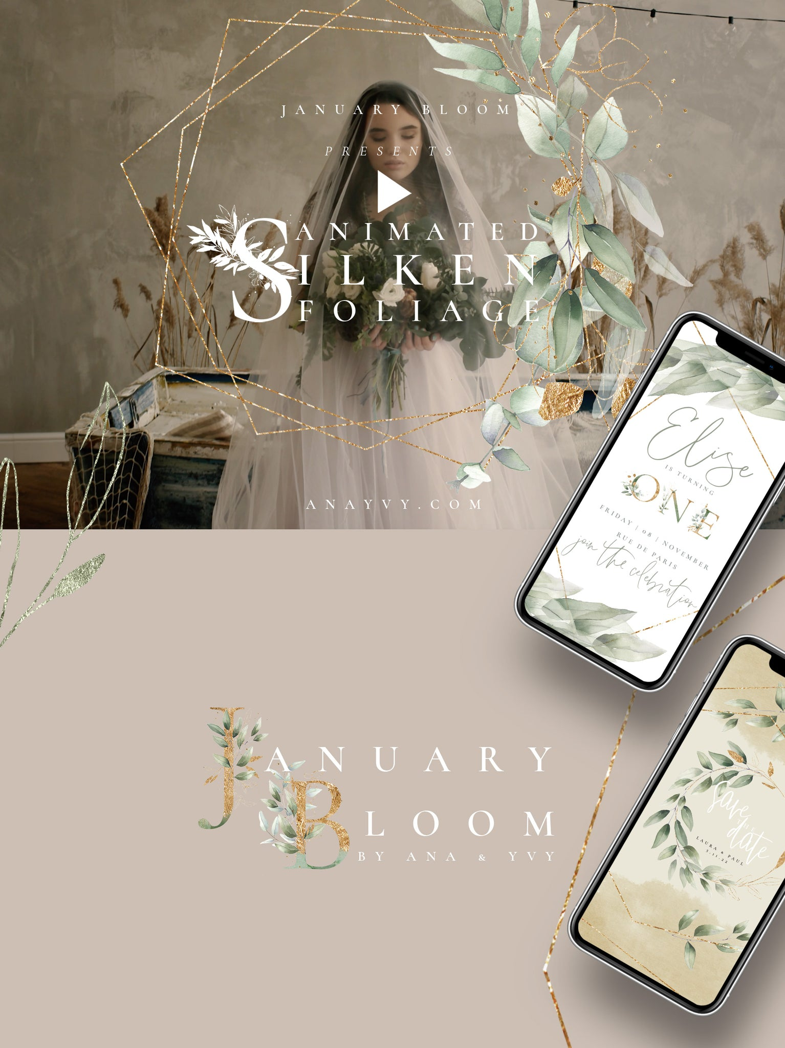 January Bloom | Animated Watercolor Foliage & Gold - ANA & YVY