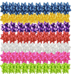 100 Small Gift Wrap Star Bow - Assorted Colours (Matt)