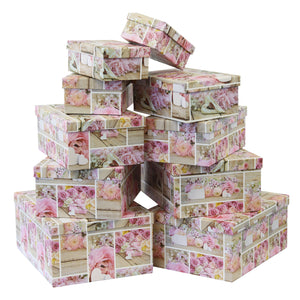 Set of 10 Luxury Gift Boxes with Pink flower